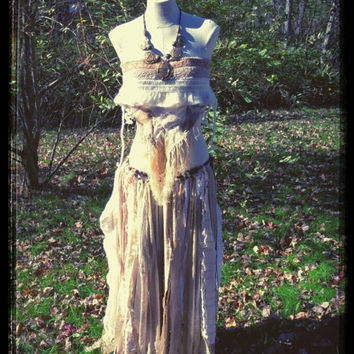 Patchwork Eco Gypsy Skirt And Wrap Top, PrimalForged, Hippie Handfasting Apparel, Wearable Art, Unique Womens Clothes