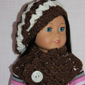 18 inch doll clothes, brown and ivory crochet slouch hat/ beanie with triangle cowl scarf, Upbeat petites