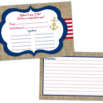 bridal recipe cards gift nautical wedding gift anchor weddin