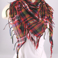 Red Plaid Fichu Scarf Shawl Cowl Triangle Sheer Hijab Fashion Lightweight Women Accessories by Creations by Terra