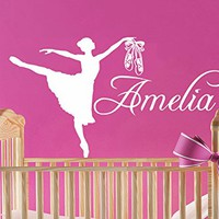Wall Decal Girl Name Dancer Gymnastics Ballet Sticker Personalized Name Nursery Kids Custom Name Vinyl Sticker Decals Bedroom Decor C605