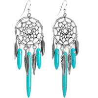 Handcrafted Native American Turquoise Stone Dreamcatcher Earrings | Body Candy Body Jewelry