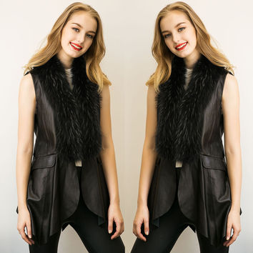 Fashion women artificial fox fur vest winter stitching leather vests