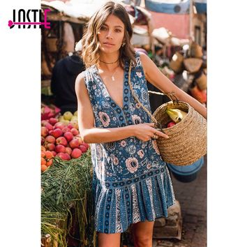 Jastie Vintage Intricate Navy Lace Laddering Mini Dress Bohemian V-Neck Sleeveless Tunic Dresses Women Boho Beach Summer Dress