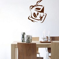 Wall Vinyl Sticker Decal Art Design Coffee Tea Cup for Cafe Kitchen Room Nice Picture Decor Hall Wall Chu485