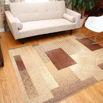 5030 Beige Square Contemporary Area Rugs
