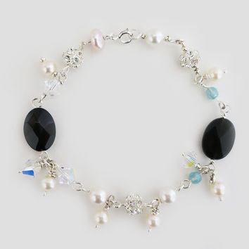 Mixed Stone Sterling Silver Bracelet, Black Onyx, Swarovski Pearls and Crystals