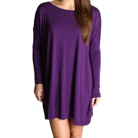 Dark Purple Piko Tunic Long Sleeve Dress