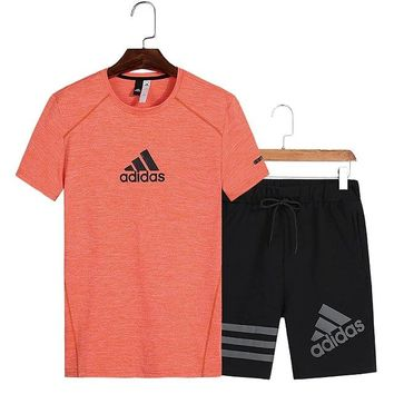 Adidas short-sleeved suit men's summer t-shirt round neck quick-drying shorts fitness running sports suit orange