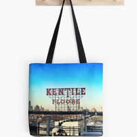 Retro Market Tote Bag - Kentile Floors Sign in Brooklyn - Fine Art Photography