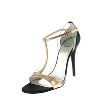 Stuart Weitzman Womens Sincity Leather Metallic T-Strap Sandals