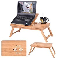 ISINO Natural Bamboo color Adjustable Laptop Desk Foldable Tray Table with Drawer and stopper