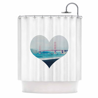 "Chelsea Victoria ""San Francisco Love"" Coastal Blue Shower Curtain"