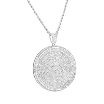 14k White Gold Tone Simulated Diamond Medallion Coin Pendant + Steel Rope Chain