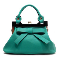 Rockabilly Pin-up Teal Green Revamp Bow Kiss Lock Lolita Satchel Purse