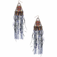 Tribal Feather Bead Drop Earrings - Topshop