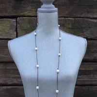 Fresh Water Pearl Leather Necklace