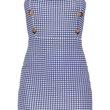 Navy Gingham Print Bodycon Dress