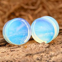 Pair of Genuine Opalite Organic Natural Polished Stone Ear Gauges Plugs Saddle