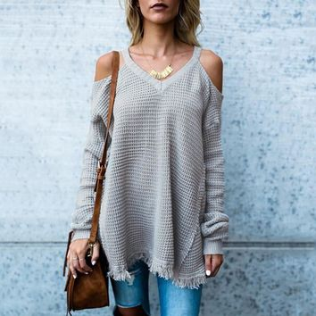 New Women Autumn Off Shoulder Sweater Long Sleeve Loose Soild Color Knitted Casual Pullovers Shrug Sweaters Ladies outwear Coats