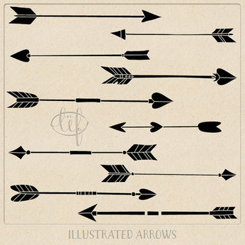 Vector Arrow Clip art Graphics Black (Set 2) with Photoshop Brushes. Designer pack filled with hand drawn arrows in EPS, Ai and Brush format