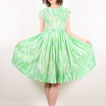 Vintage 50s Dress 60s Dress Pistachio Green Lime Green Tea Length Dress Betty Lucy Mad Men Full Sweep Skirt Dress Pretty 1950s 1960s S Small