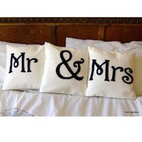 Mr and Mrs Scatter Pillows by idotakeu on Etsy