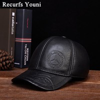 Trendy Winter Jacket RY118 Male Cowhide Genuine Leather Wide Brim Baseball Caps Man Print Snapback Golf Social Polo Tricycle Black/Brown Dome Hats AT_92_12
