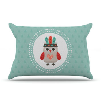 "Daisy Beatrice ""Hipster Owlet Mint Coral"" Teal Pillow Case"