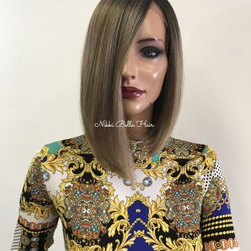 Brown Ash Blond ombre bob lace front wig  - Jane 0418 32**
