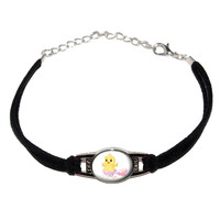 Easter Egg Baby Chick Novelty Suede Leather Metal Bracelet