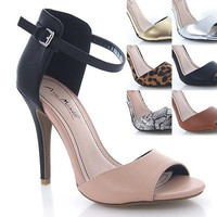 Enzo33 Professional Ankle Covering Protector Strap Open Toe Business Stiletto