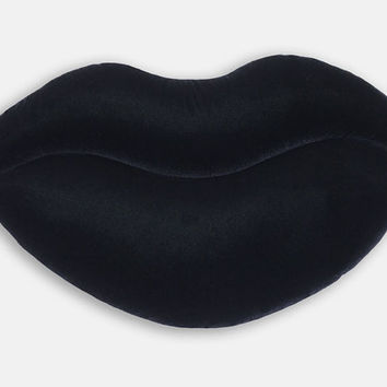 Black Shimmer Velvet Lips Shaped Decorative Pillow