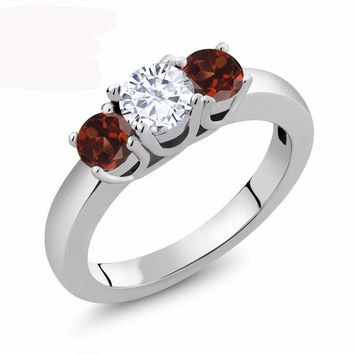 1.24 Ct Round White Created Moissanite Red Garnet 925 Sterling Silver Ring