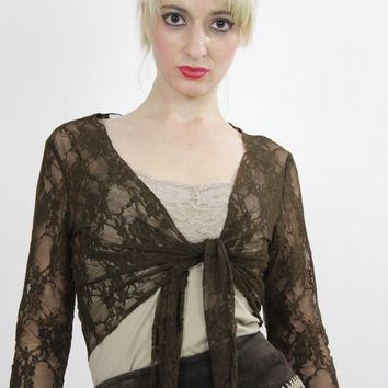 Vintage 90s grunge sheer lace crop top