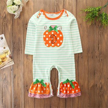 2018 Fashionable Infant Halloween Baby Girls Long-sleeved Boutique Pumpkin Striped Pattern Rompers Clothes Autumn