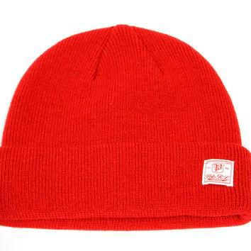 Polo Ralph Lauren Adult's Cuff Fold Red Acrylic Beanie Hat OS