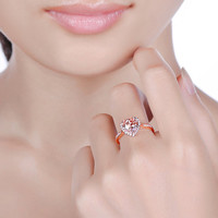 Unplated 14K Rose Gold 0.22ct Natural Diamonds & 1.87ct Heart Shape Morganite Engagement Ring