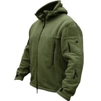Men Tactical Military Winter Fleece Hooded Outdoor Jacket.