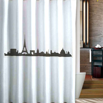 Cityscape Paris Shower Curtain Eiffel Tower champ elysees de mars arc de triomphe place de la concorde france skyline bathroom decor bath