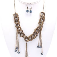 Navy Gemstone Chain Necklace And Earring Set