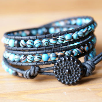 Turquoise Composite Bohemian beaded leather wrap bracelet, Blue, Black, Brown, vintage, trendy boho shabby chic, unique, gift idea, hipster