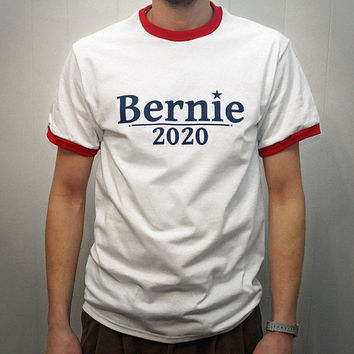 Bernie 2020 Ringer T-Shirt. Bernie Sanders for president 2020 Red and White Ringer Tee Shirt