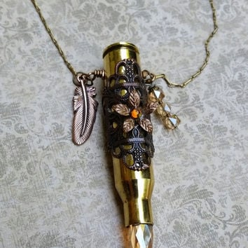Bullet necklace, rifle jewelry, embellished ammo, recycled upcycled, eco friendly