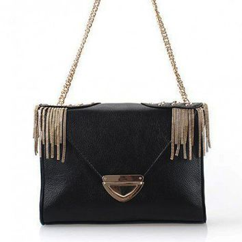 Military Inspired Chic Studded Black Leather Shoulder Bag. Sling Bag