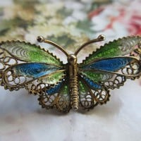 Vintage 1930s Plique A Jour Enameled Butterfly Pin