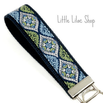 Keychain Wristlet, Metallic Fabric Key Fob, Key Holder, Fabric Key Chain, Lanyard, Fabric Key Holder, Wrist Key Holder, Navy Blue