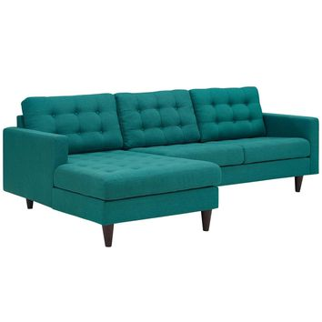 Empress Left-Facing Upholstered Fabric Sectional Sofa Teal EEI-1666-TEA