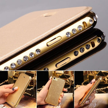"Luxury Aluminum Metal Bumper Flip Leather Case Cover for iPhone 5 5S 6 4.7"" Plus [8403191623]"