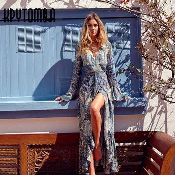 Bohemian Dresses Women 2018 Autumn Vintage Floral Print Long Sleeve Deep V-Neck Maxi Summer Beach Dress Casual Femme Vestidos